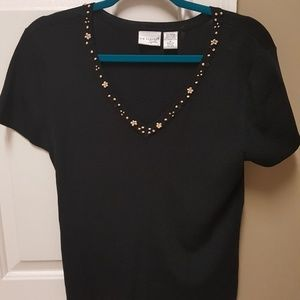 """Kim Rogers"" Like new, beaded & sequined blouse."